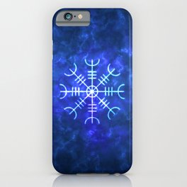 Helm of Awe - Viking Icelandic Magickal Stave in Blue Fire iPhone Case