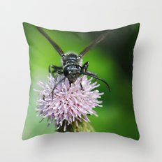 Bee and a flower Throw Pillow