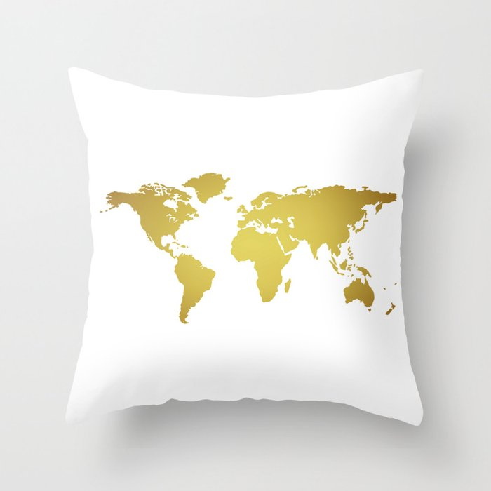 Gold foil world map on white background throw pillow by hhprint gold foil world map on white background throw pillow gumiabroncs Choice Image