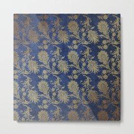 Blue Velvet Gold Floral Pattern 06 Metal Print