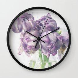 Crystal Purple Tulips Wall Clock