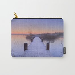 Boardwalk on a lake at dawn in winter, The Netherlands Carry-All Pouch