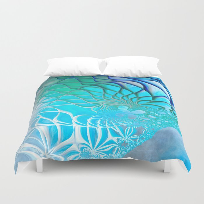 Web of the Universe (cool sea blue-green) Duvet Cover