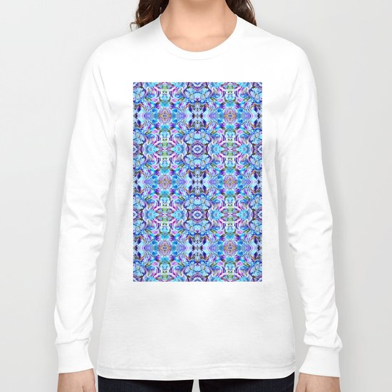 Turquoise Blue Flower Girly  Pattern Long Sleeve T-shirt