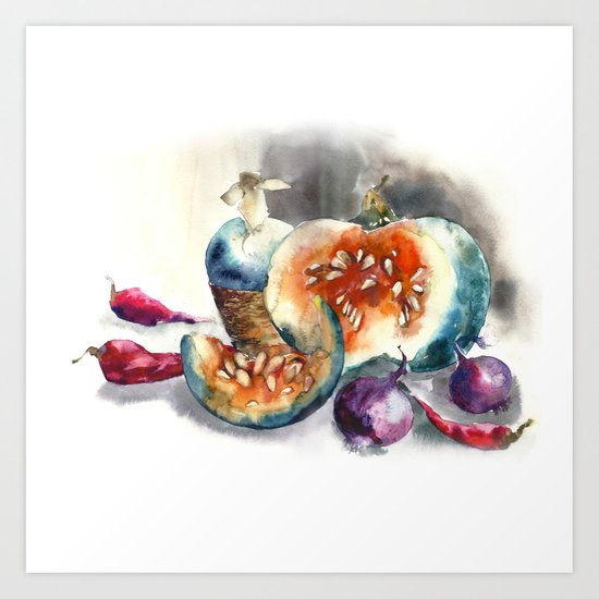 Watercolor harvest with vegetables, Thanksgiving Day Art Print