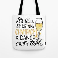 champagne Tote Bags featuring champagne by desfigure