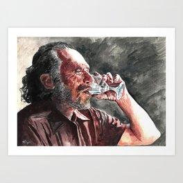 Charles Bukowski acrylic portrait Art Print