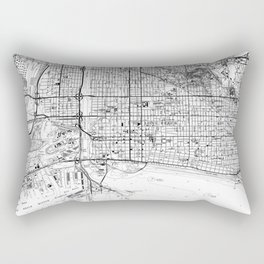 Vintage Map of Long Beach California (1964) BW Rectangular Pillow
