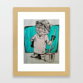 Janitor Cat Framed Art Print