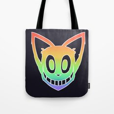 Rainbow Cat Head (white outline) Tote Bag