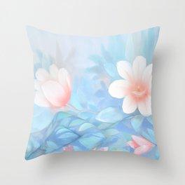 Blue Flowers Dream - Bodyart - Photography by Lana Chromium - beauty - woman - body - soul Throw Pillow
