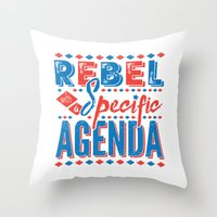 rebel Throw Pillows featuring Rebel by Word Quirk