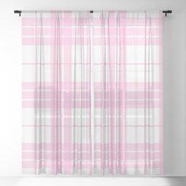 Pink Plaid Sheer Curtain
