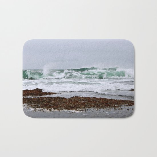 Green Waves Crashing into White Foam Bath Mat