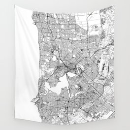 Perth White Map Wall Tapestry