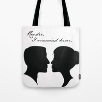 jane eyre Tote Bags featuring Jane Eyre: Reader, I married him by AfterThisChapter