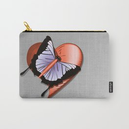 Beautiful butterfly and heart on polished metal textured background Carry-All Pouch