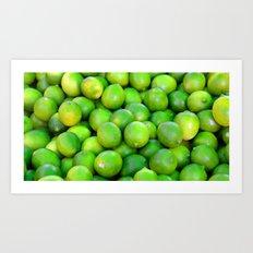 Green Limes fruit pattern Art Print