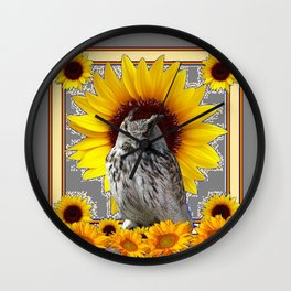 AWESOME GREY OWL SUNFLOWERS  GREY ART Wall Clock