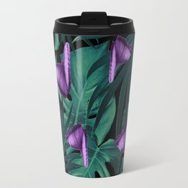 Tropical Butterfly Jungle Night Leaves Pattern #4 #tropical #decor #art #society6 Travel Mug