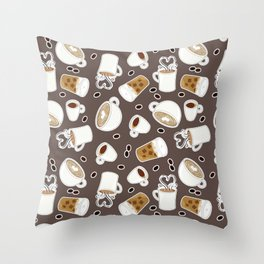 Coffee Lover Pattern Throw Pillow