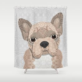Beige Frenchie Puppy 001 Shower Curtain