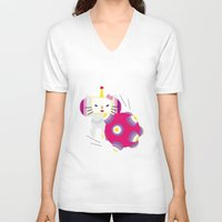 katamari V-neck T-shirts featuring Katamari Kitty by Martine Verfaillie