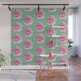 Dahlias pattern on green Wall Mural