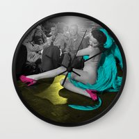 burlesque Wall Clocks featuring Burlesque by POP Prints by FMcLaws