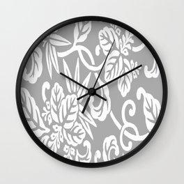 Gray Japanese Leaf Pattern Wall Clock