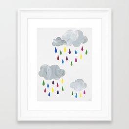Rainbow Rain Clouds Framed Art Print