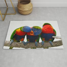 3 Lorikeets on a Branch Rug