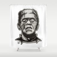 frankenstein Shower Curtains featuring Frankenstein by Patricia Pedroso