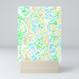 Blue, Yellow, and Green Marbled Mini Art Print