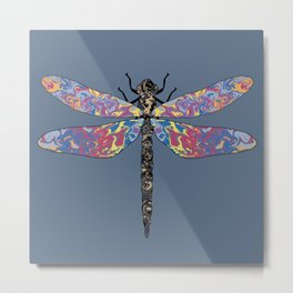 Crazy colorful dragonfly pattern on navy background Metal Print