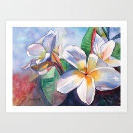 Tropical Plumeria Flowers Art Print