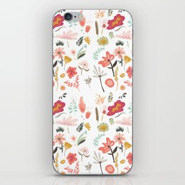 Hand painted pastel pink coral green floral illustration iPhone Skin