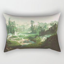 Peaceful landscape fantasy illustration Rectangular Pillow
