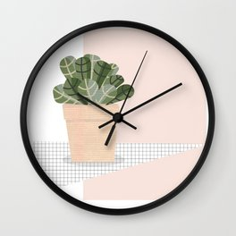 Colage Catus plant pot Wall Clock