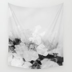 Black And White Blossoms Wall Tapestry