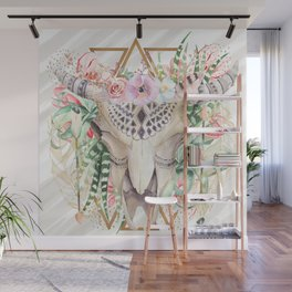 Skull boho and triangles Wall Mural