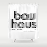 bauhaus Shower Curtains featuring ITC Bauhaus by Ana Guillén Fernández