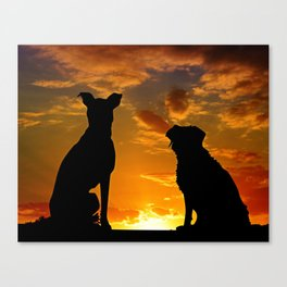 TWO DOGS AT SUNSET Canvas Print