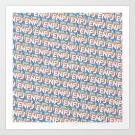 ENFJ Trendy Rainbow Text Pattern (Blue) Art Print