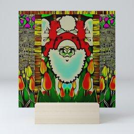 cartoon gnome happy in the tulip garden of pop-art Mini Art Print