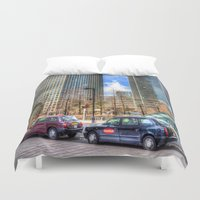 taxi driver Duvet Covers featuring Taxi !!! by David Pyatt