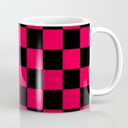 Black and Red Checkerboard Pattern Coffee Mug