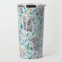 Baby Elephants and Egrets in Watercolor - egg shell blue Travel Mug