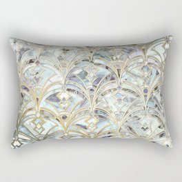 Pale Bright Mint and Sage Art Deco Marbling Rectangular Pillow