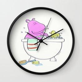 Bath Time Hippo Wall Clock